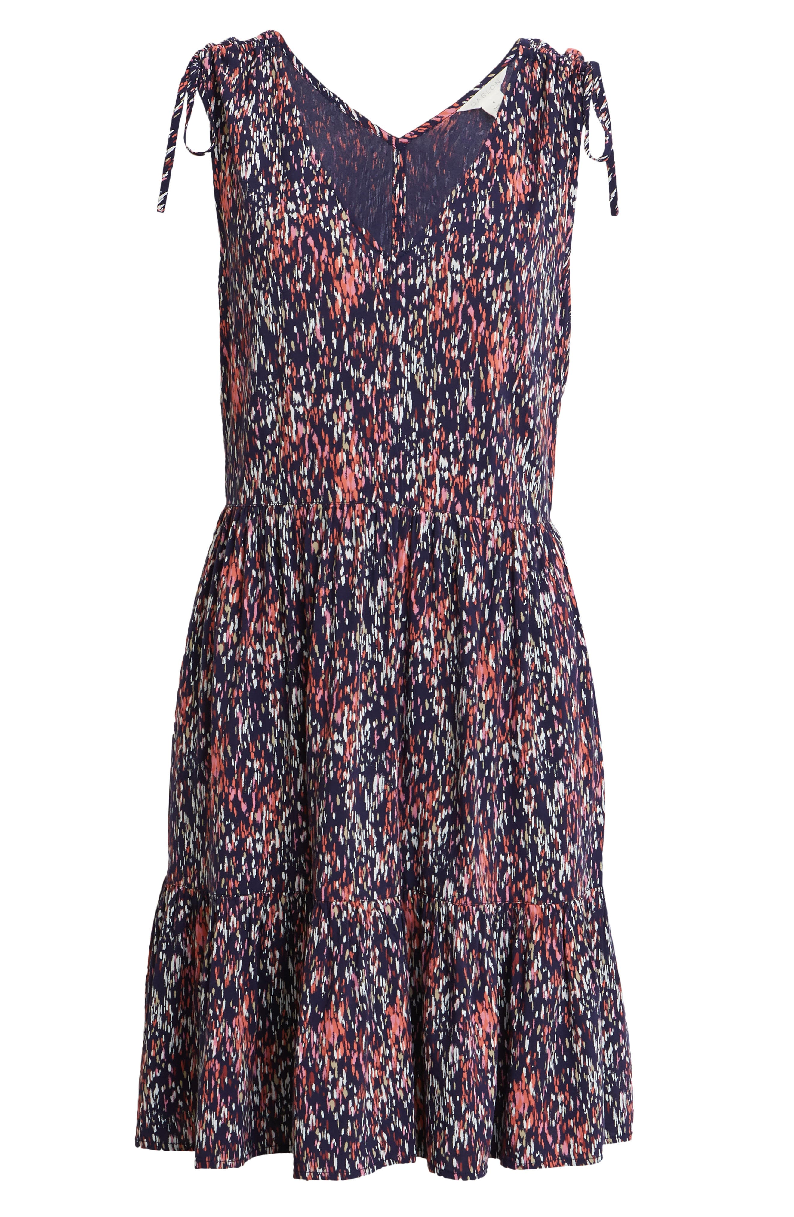 A simple seasonal favorite, this sleeveless frock is an easy slip-on-and-go choice for warmer days with its flowy skirt and drawstring-ruched shoulders. Style Name: Caslon Print Ruched Shoulder Dress. Style Number: 5985726. Available in stores.