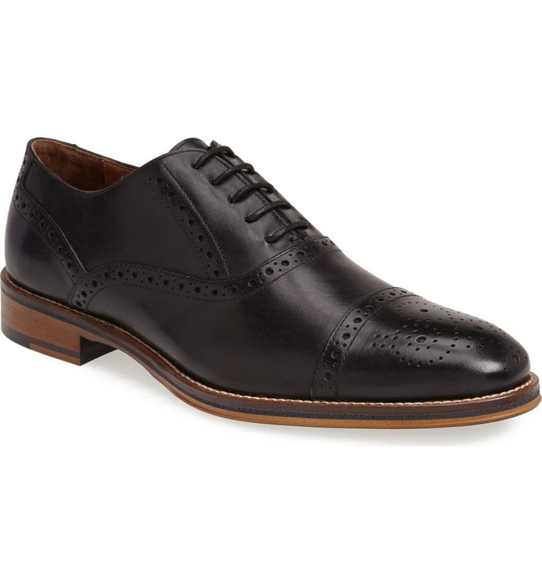 JOHNSTON & MURPHY Conard Cap Toe Oxford, Main, color, BLACK