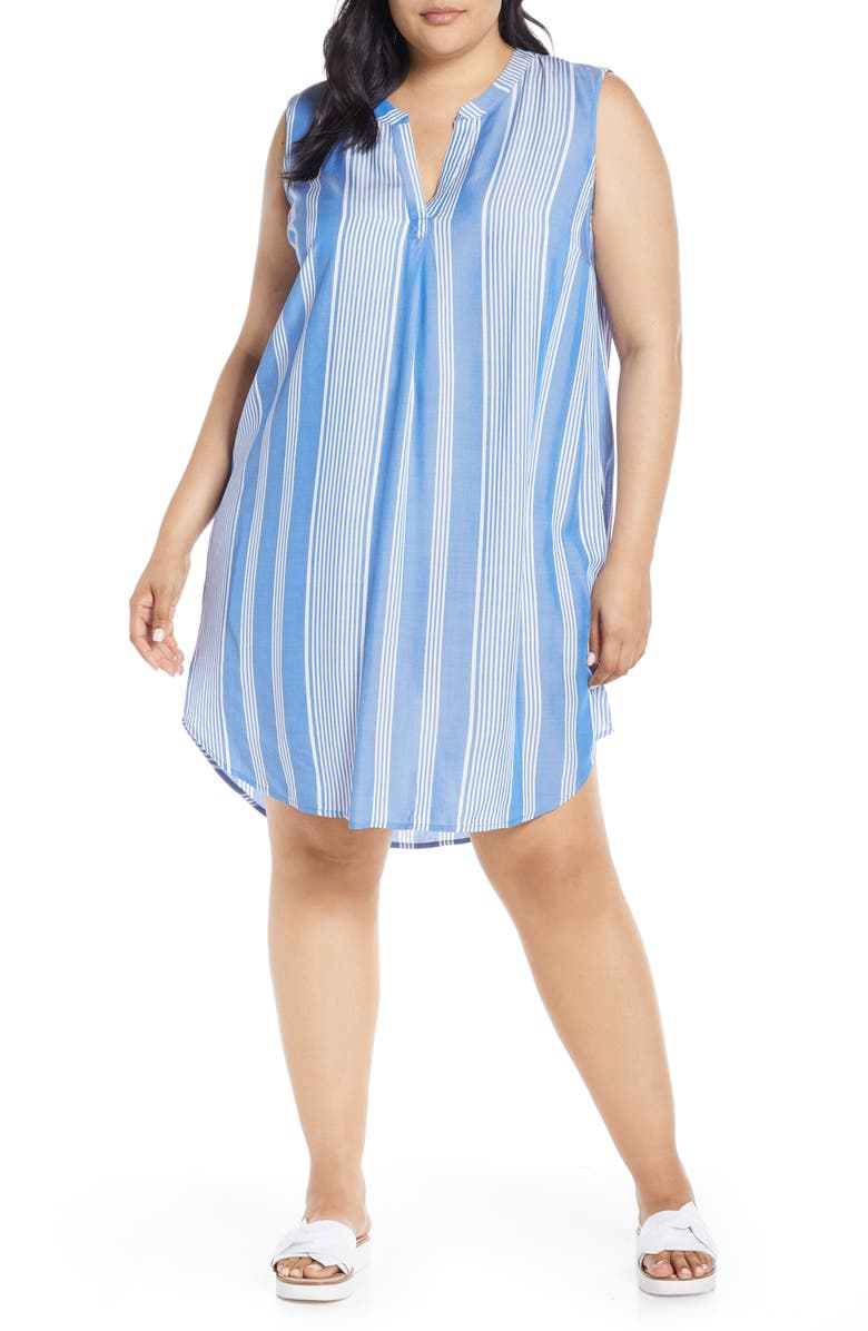 Single Thread Split Neck Shift Dress Plus Size