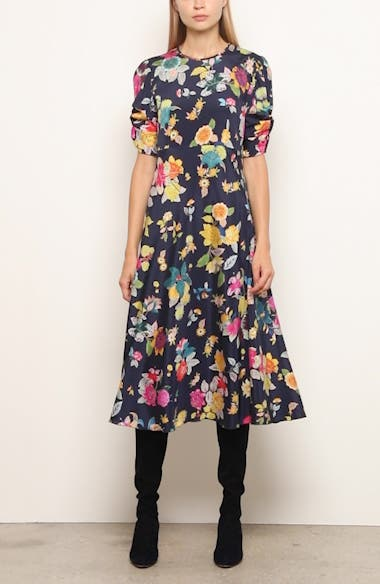 Floral Print Ruched Sleeve Midi Dress, video thumbnail