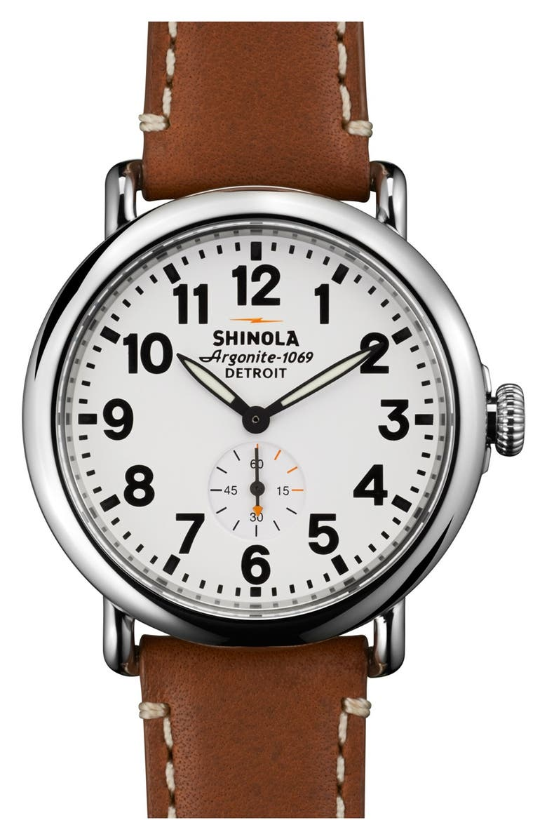 SHINOLA 'The Runwell' Leather Strap Watch, 41mm, Main, color, BROWN/ WHITE