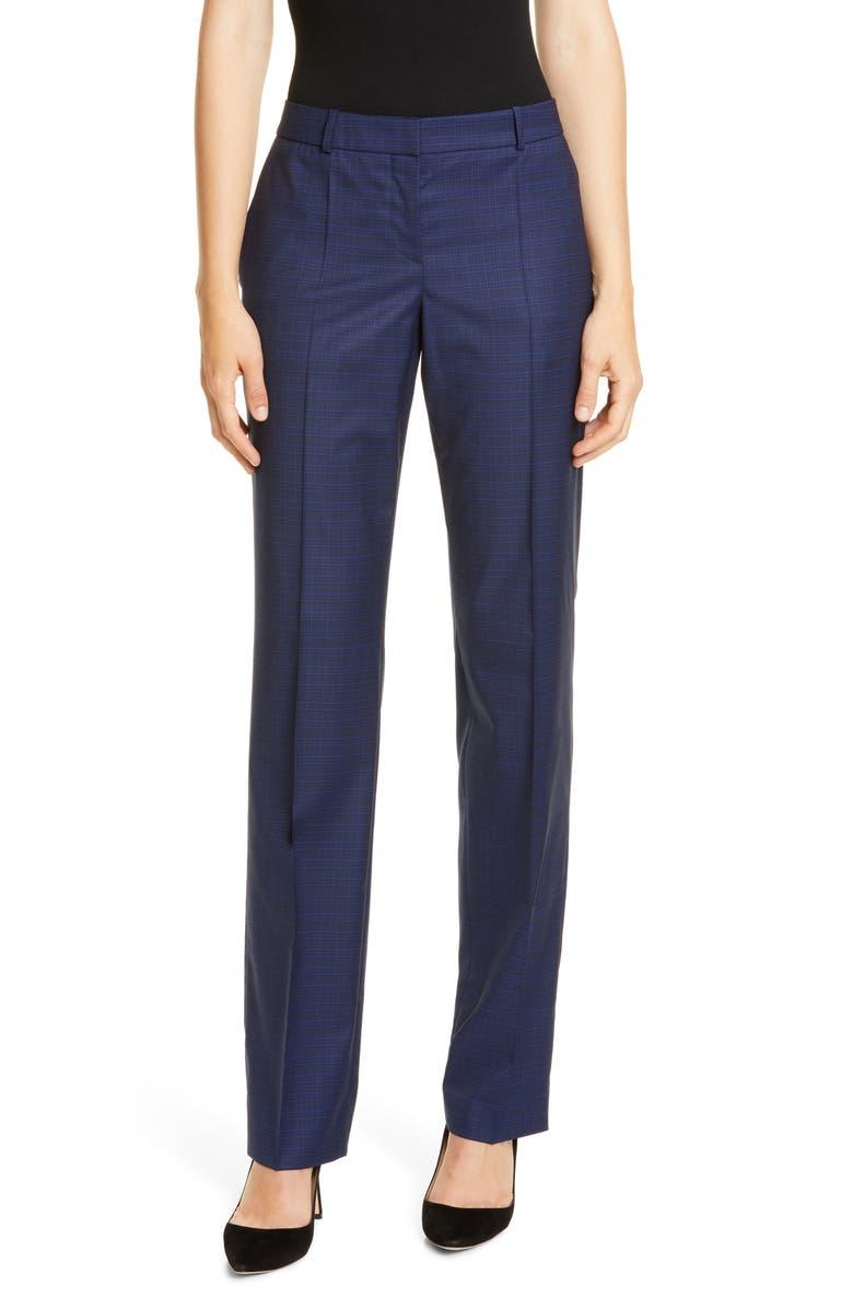 BOSS Teamea Rich Check Trousers, Main, color, NAVY FANTASY