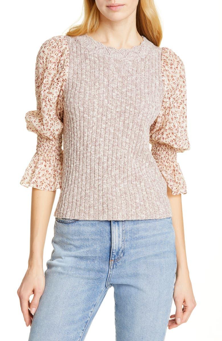 REBECCA TAYLOR Francesca Mix Media Cotton & Linen Blend Sweater, Main, color, 230