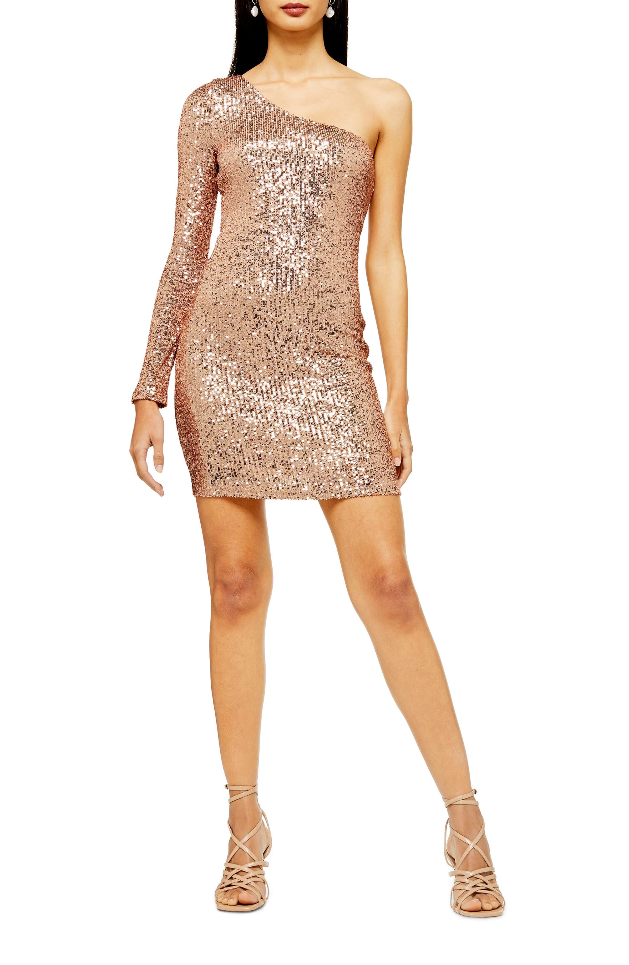Topshop Sequin One-Sleeve Minidress, US (fits like 0-2) - Metallic