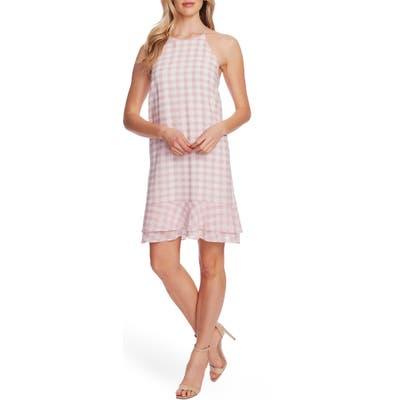 Cece Gingham Tiered Ruffle Sleeveless A-Line Dress, Pink