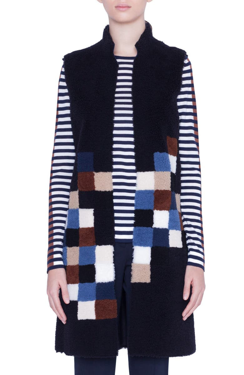 AKRIS PUNTO Pixel Reversible Genuine Shearling Vest, Main, color, NAVY PIXEL