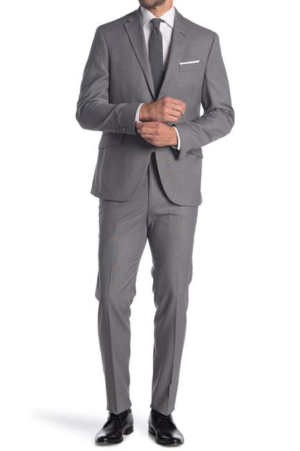 Image of Kenneth Cole Reaction Grey Check Two Button Notch Lapel Slim Fit Suit