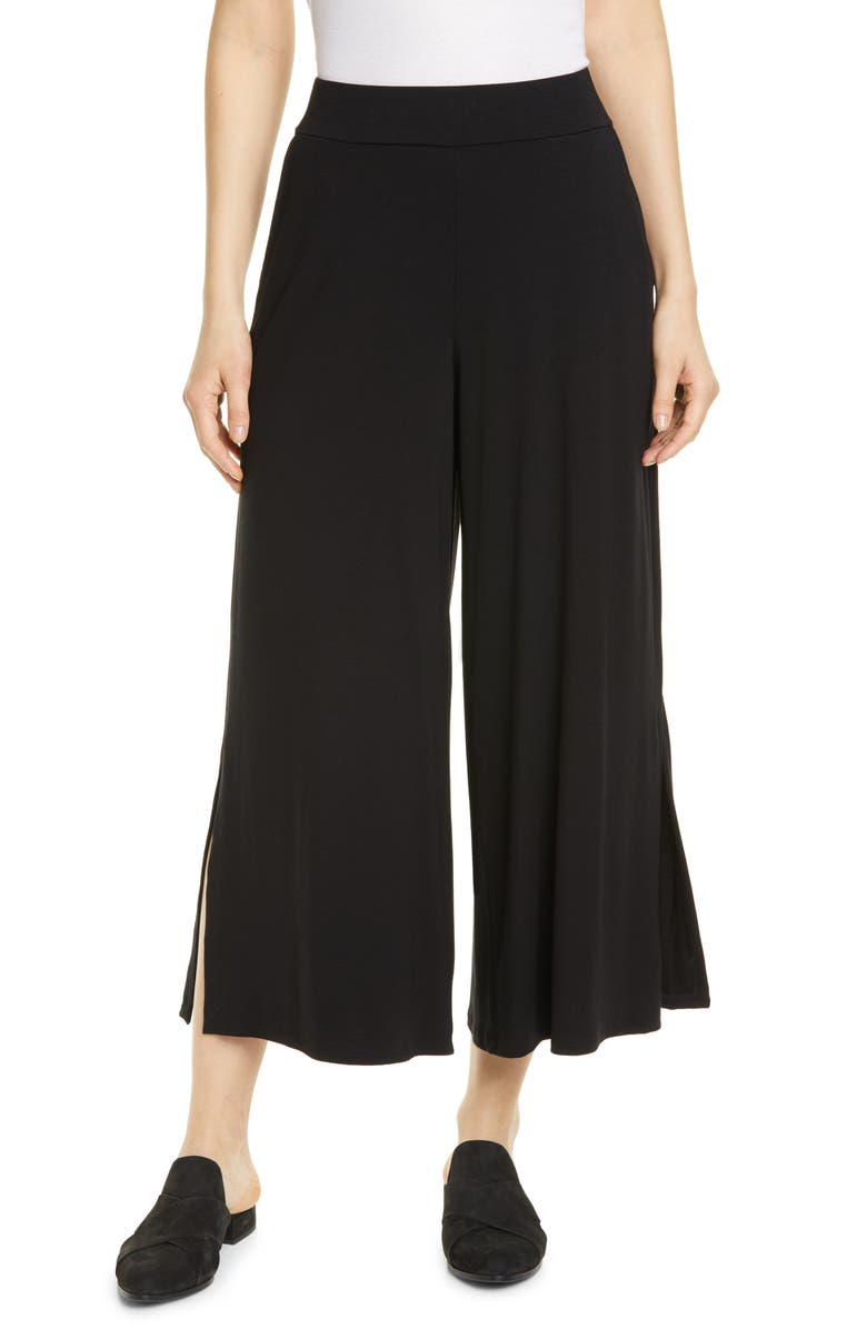 EILEEN FISHER Side Slit Wide Leg Ankle Pants, Main, color, 001