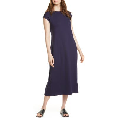 Eileen Fisher Stretch Tencel Lyocell Midi Dress, Blue