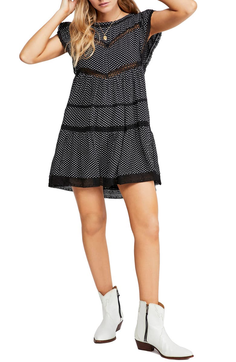 FREE PEOPLE Retro A-Line Dress, Main, color, BLACK