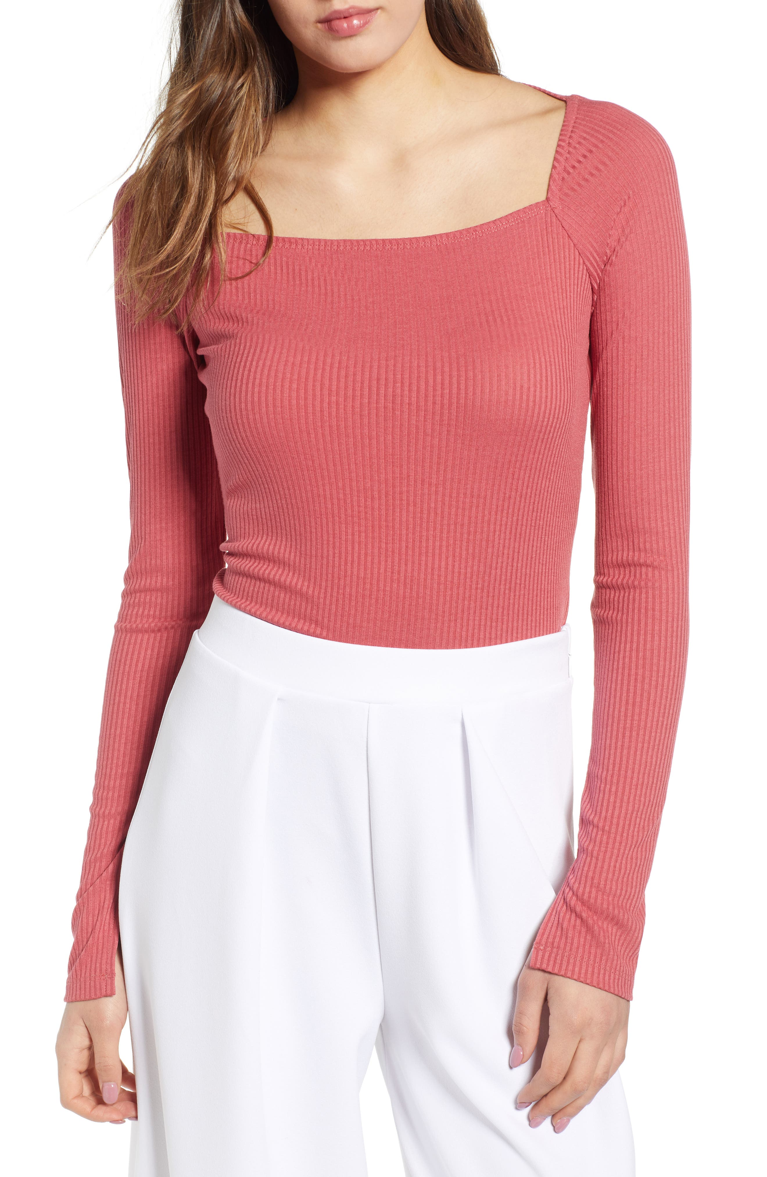Square Neck Ribbed Tee, Main, color, 630