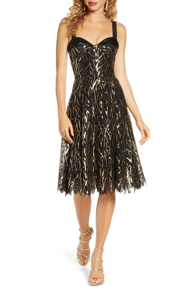 DRESS THE POPULATION Corina Sequin Fit & Flare Cocktail Dress, Main, color, BLACK-GOLD