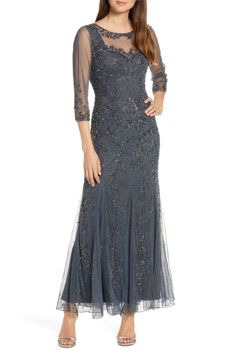 PISARRO NIGHTS Beaded Mesh Gown, Main, color, 020