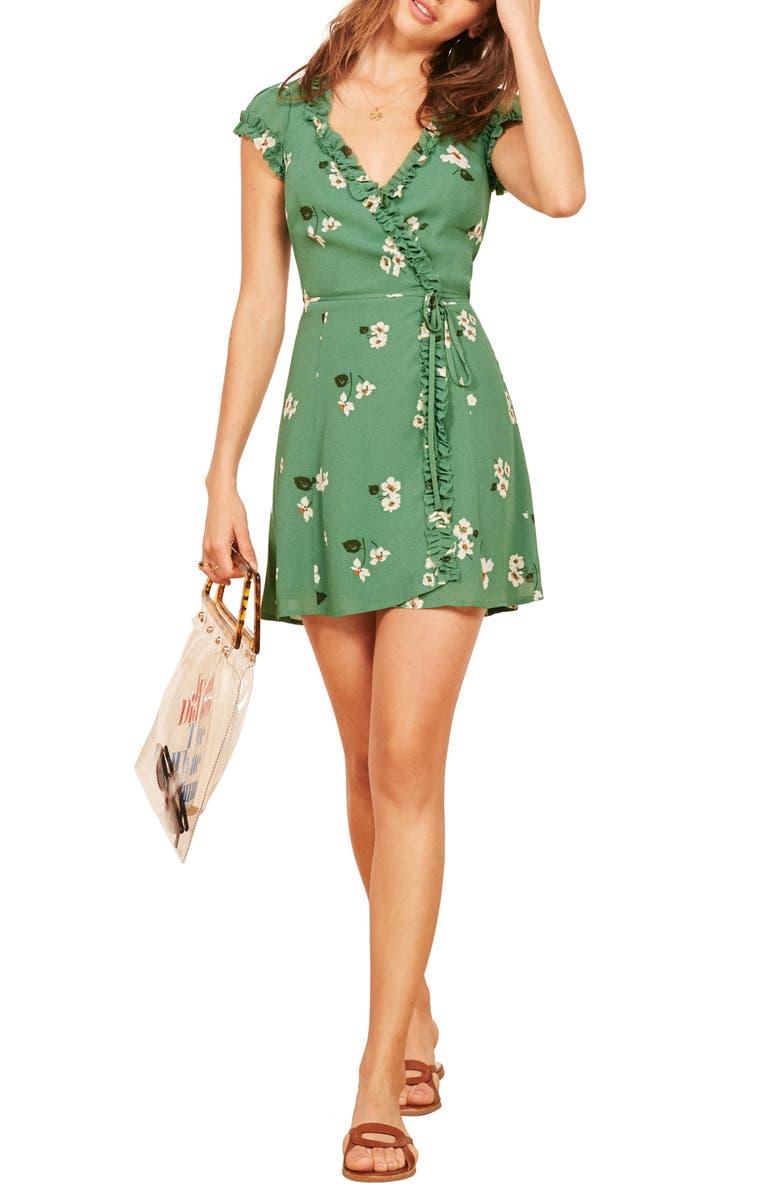 REFORMATION Garnet Floral Wrap Minidress, Main, color, 300