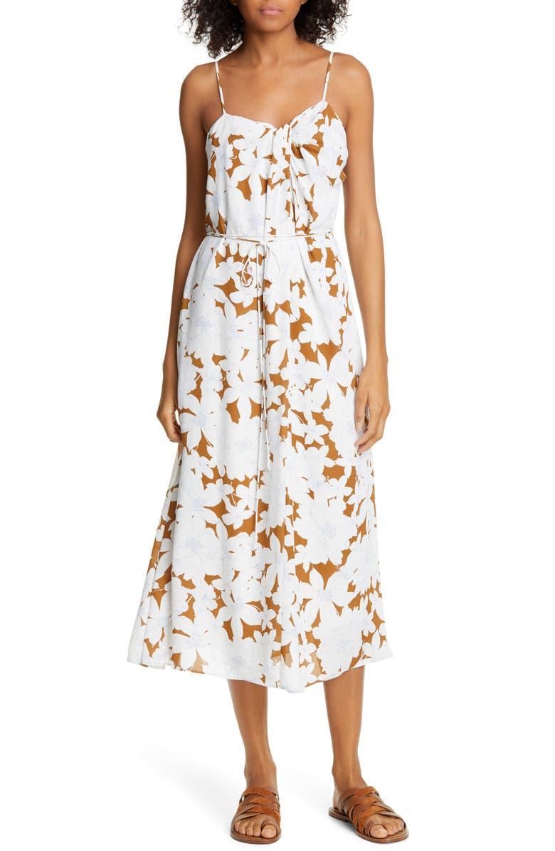 VINCE Tropical Blooms Twist Front Sundress, Main, color, TEAKWOOD