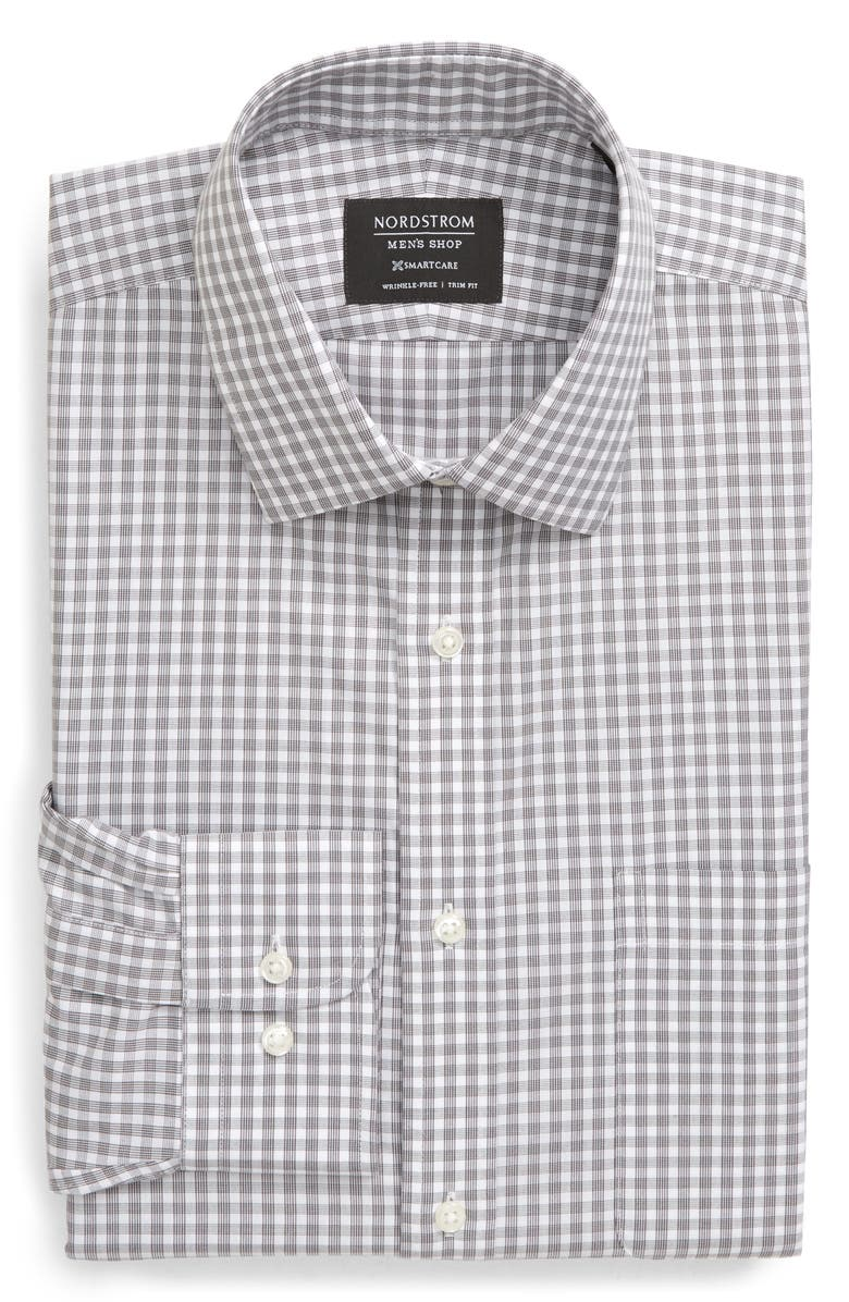 NORDSTROM MEN'S SHOP Smartcare<sup>™</sup> Trim Fit Check Dress Shirt, Main, color, GREY PAVEMENT