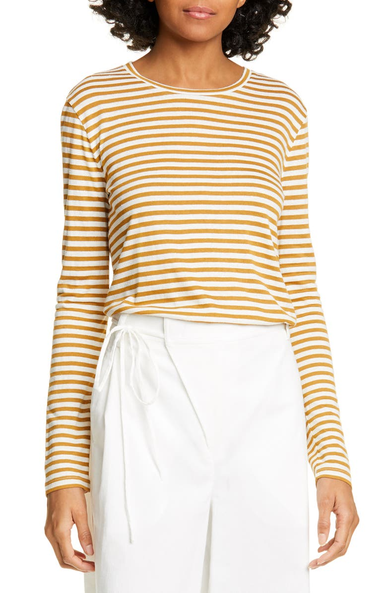 VINCE Stripe Long Sleeve Silk Blend Tee, Main, color, NATURAL/ TEAKWOOD