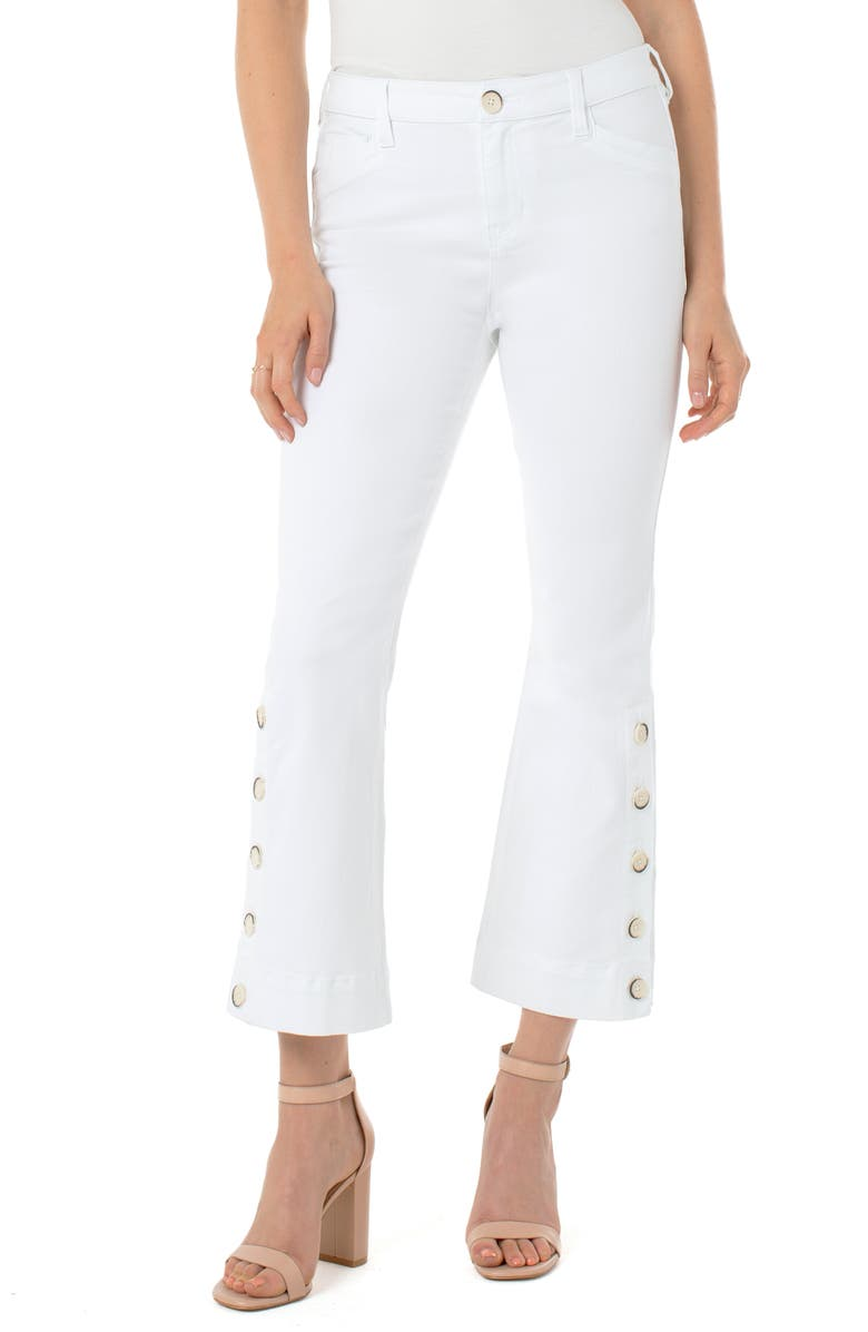 LIVERPOOL High Waist Button Hem Kick Flare Jeans, Main, color, BRIGHT WHITE