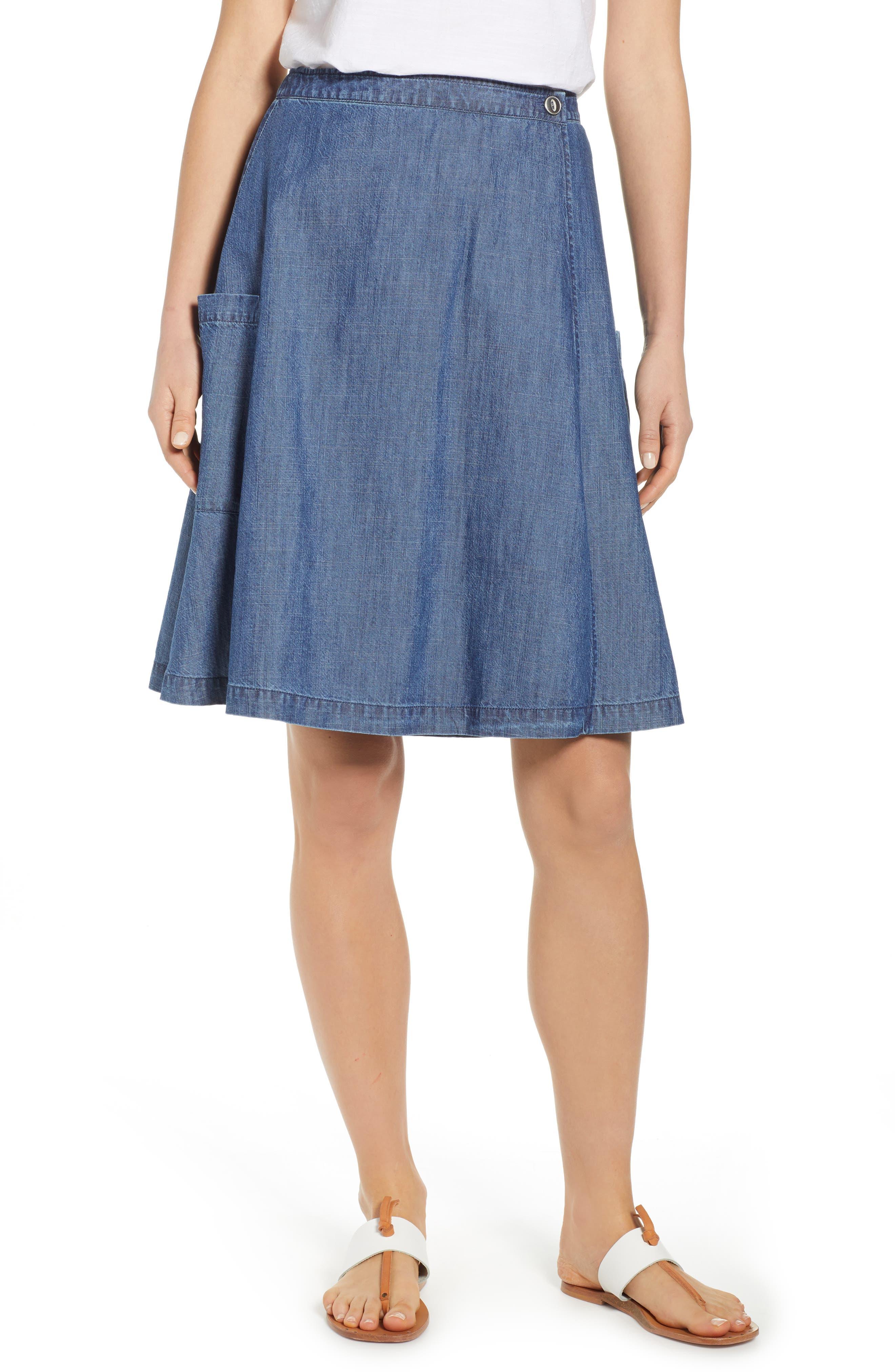 Petite Caslon Side Pocket Chambray Wrap Skirt, Blue