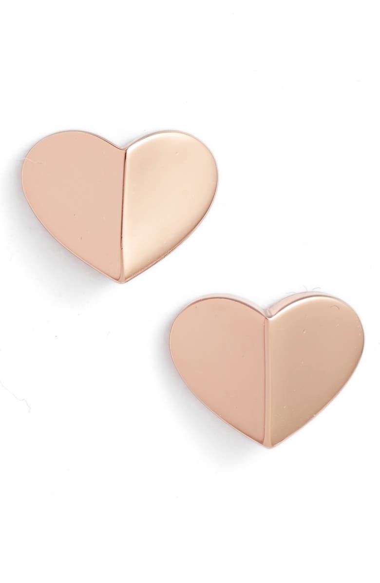 KATE SPADE NEW YORK small heart stud earrings, Main, color, ROSE GOLD