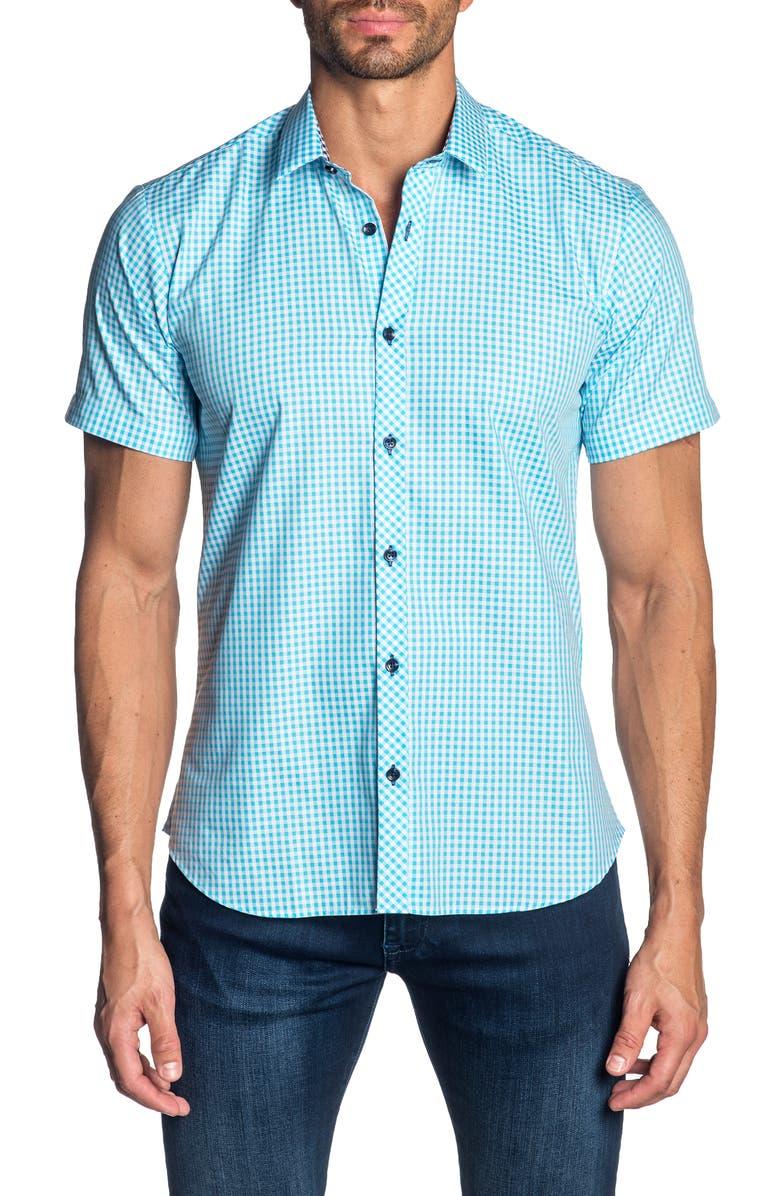 JARED LANG Slim Fit Gingham Cotton Sport Shirt, Main, color, 435