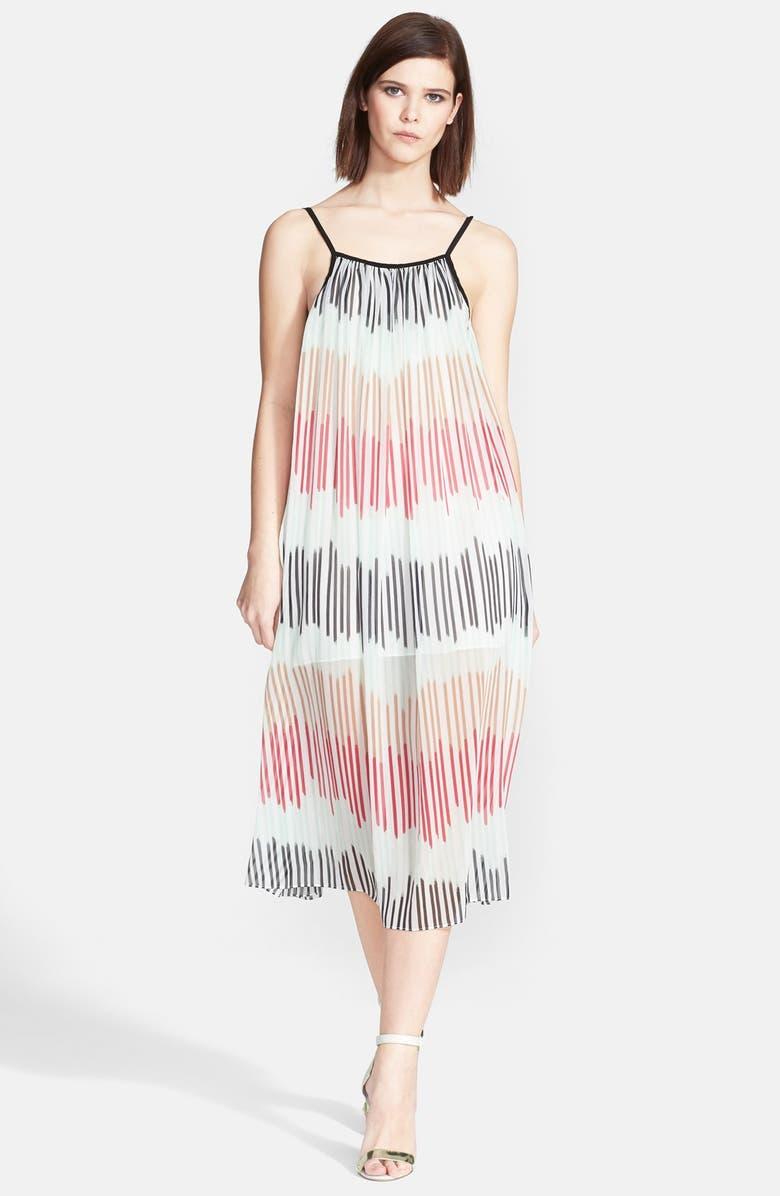 ALICE + OLIVIA 'Zuri' Pleated Chiffon Midi Dress, Main, color, 600