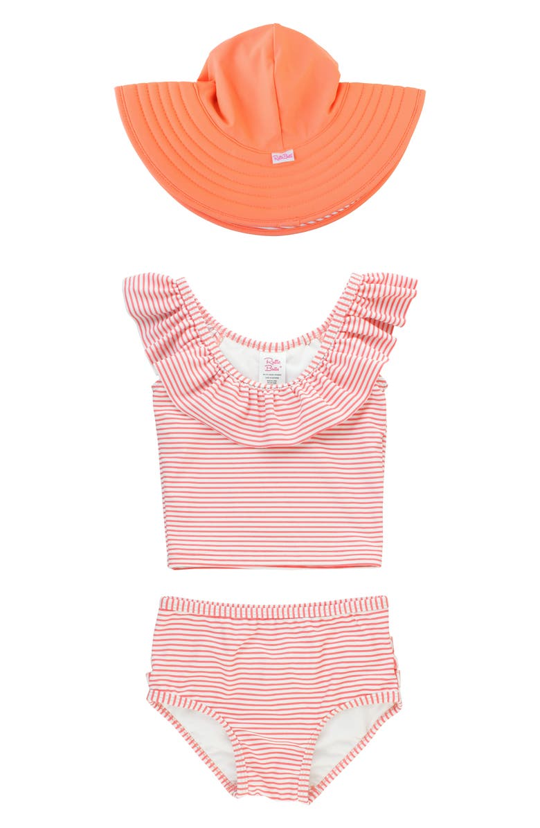 RUFFLEBUTTS Coral Stripe Two-Piece Swimsuit & Sun Hat, Main, color, CORAL