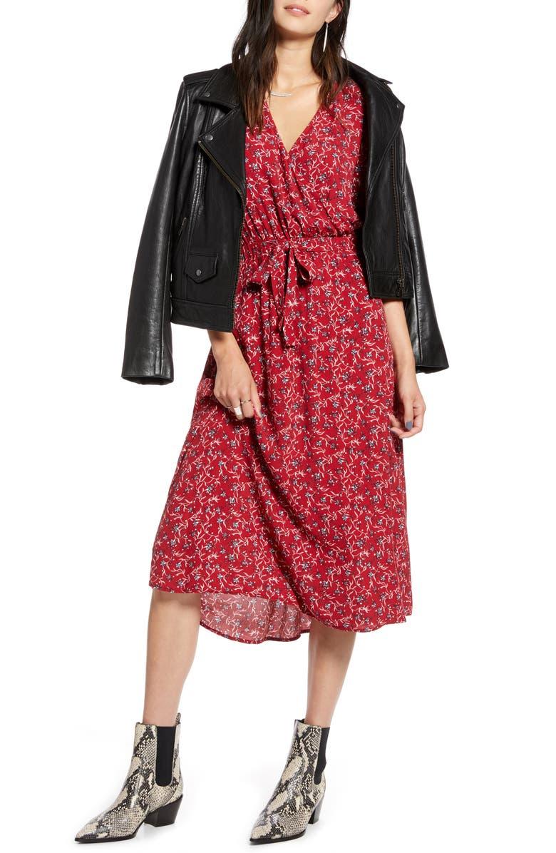 TREASURE & BOND Blouson Midi Dress, Main, color, RED DAHLIA MINI VINE LILY