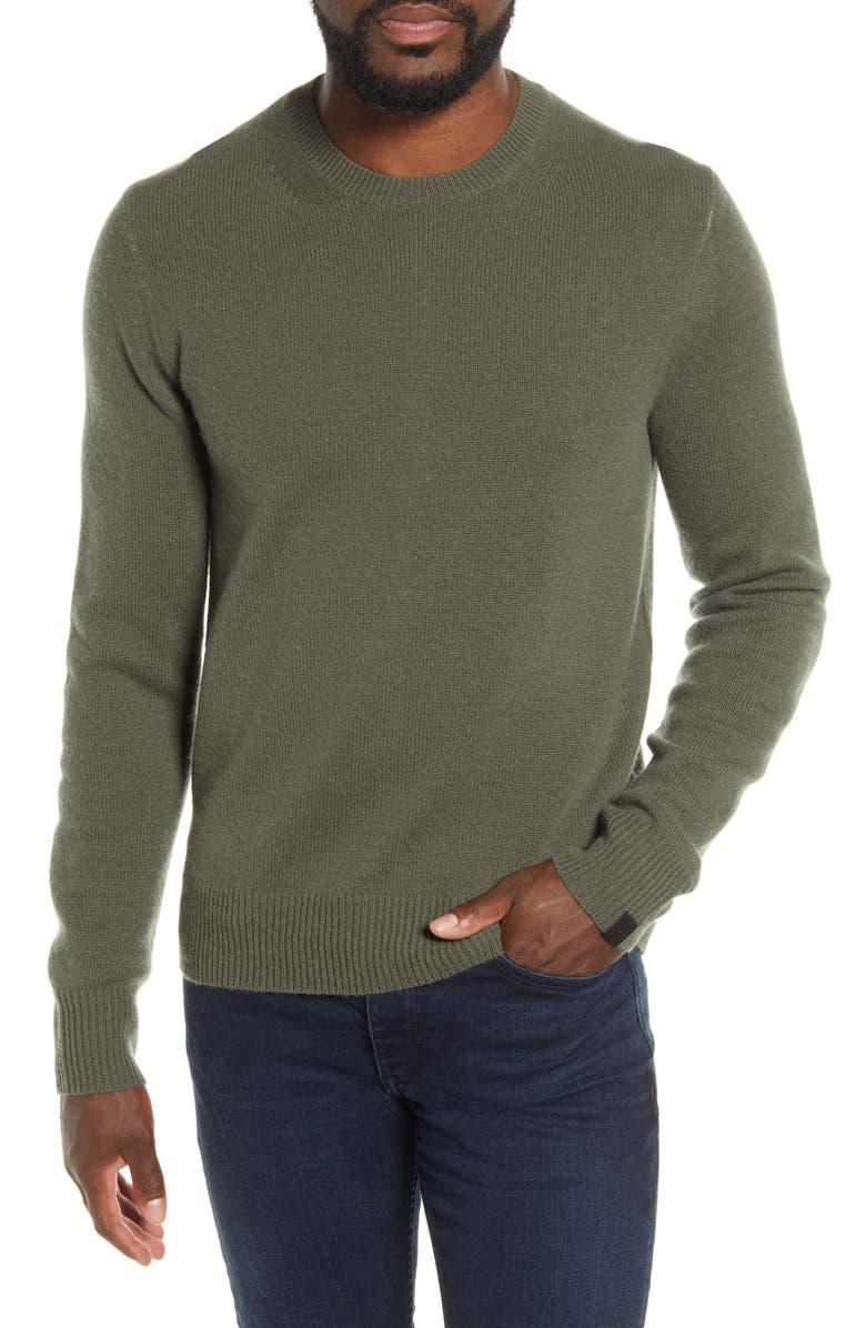 RAG & BONE Haldon Crewneck Cashmere Sweater, Main, color, HUNTER GREEN