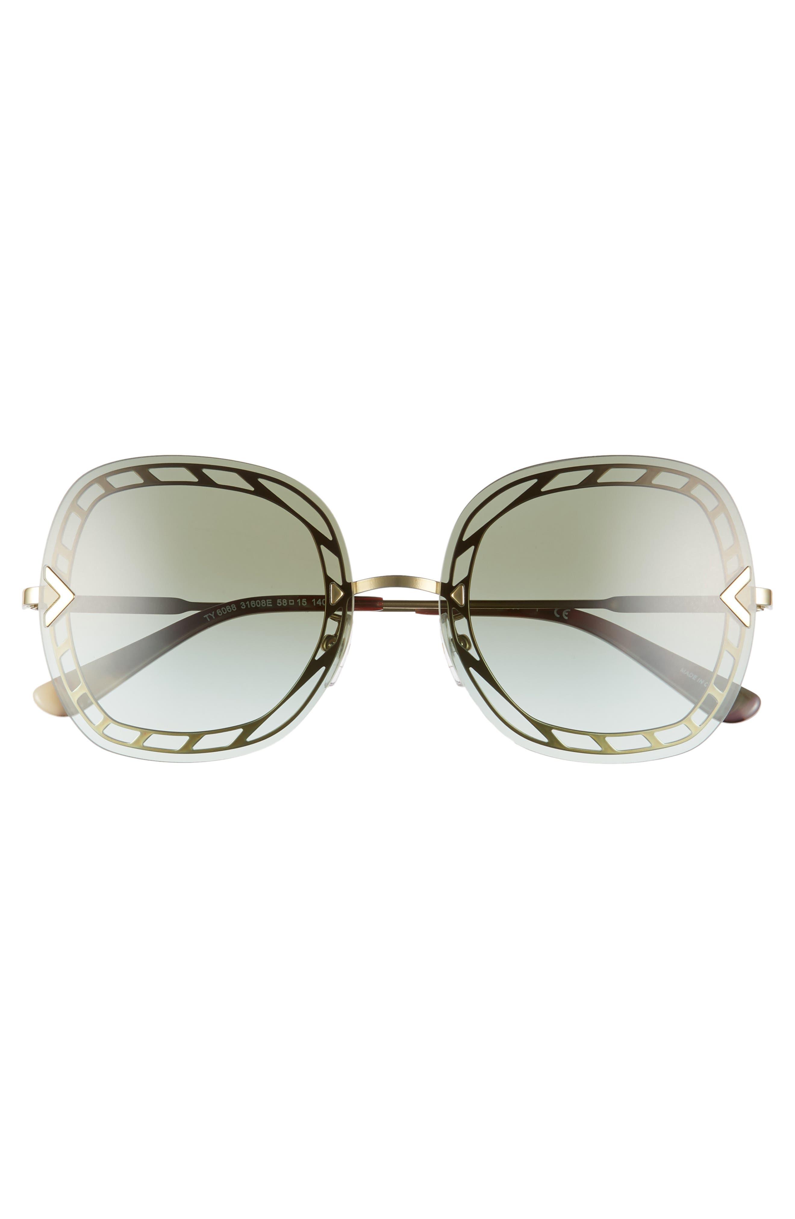 ,                             58mm Gradient Square Sunglasses,                             Alternate thumbnail 9, color,                             710