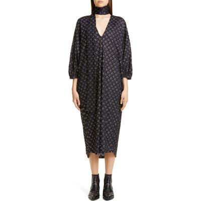 Roseanna Polka Dot Midi Dress With Removable Scarf, 6 FR - Black