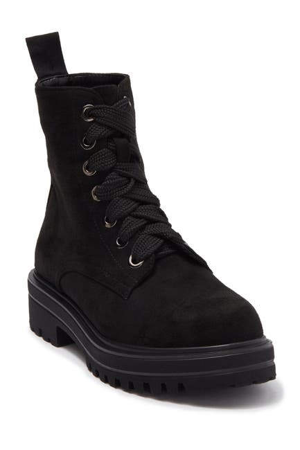 Image of Catherine Catherine Malandrino Champy Faux Suede Lace-Up Combat Boot