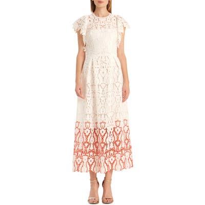 Ml Monique Lhuillier Two-Tone Floral Lace Evening Dress, White