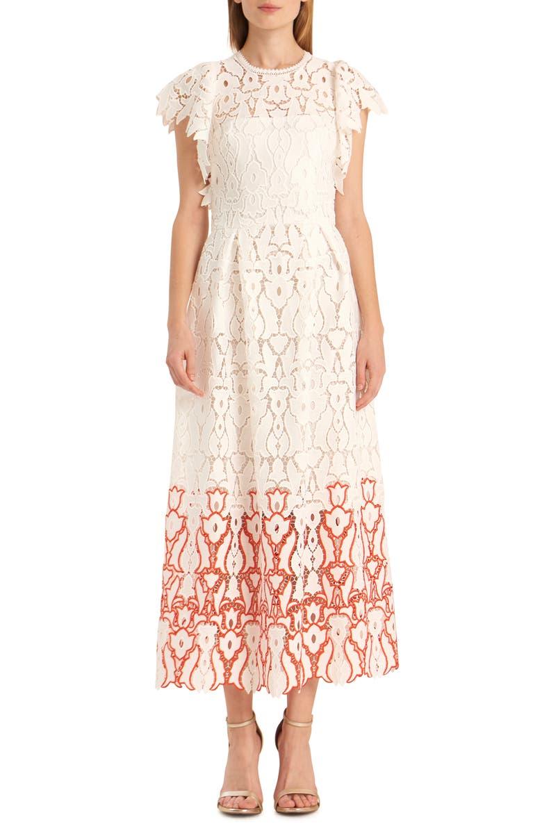 ML MONIQUE LHUILLIER Two-Tone Floral Lace Evening Dress, Main, color, 100