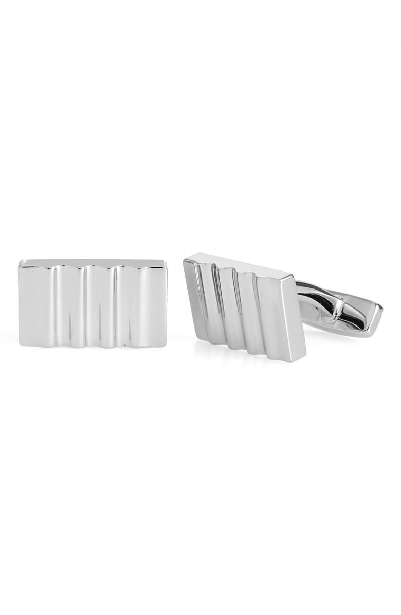 BOSS Rectangle Cuff Links, Main, color, SILVER
