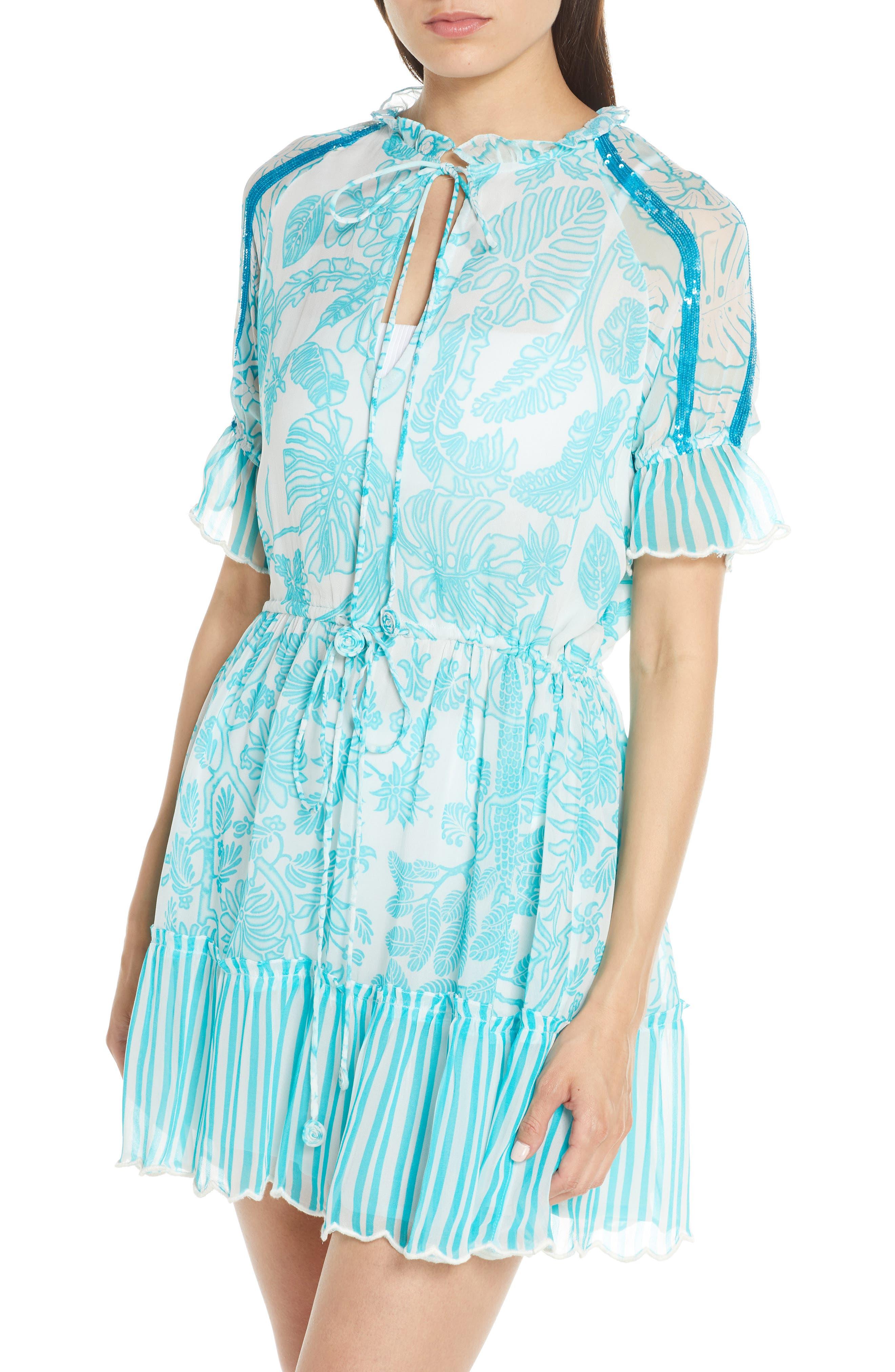Hemant & Nandita Print Cover-Up Dress, Blue