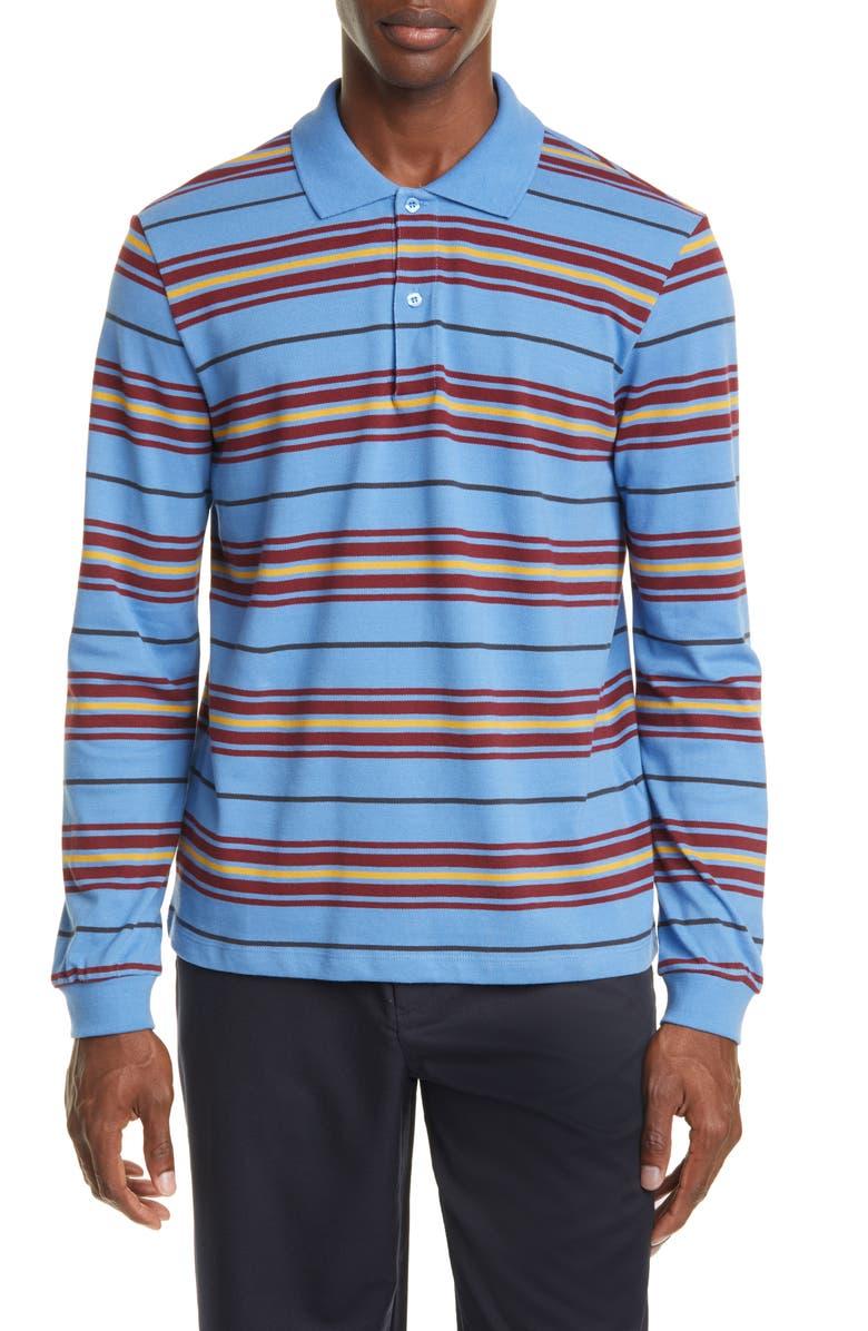 TRÈS BIEN Long Sleeve Stripe Piqué Polo, Main, color, POWDER BLUE