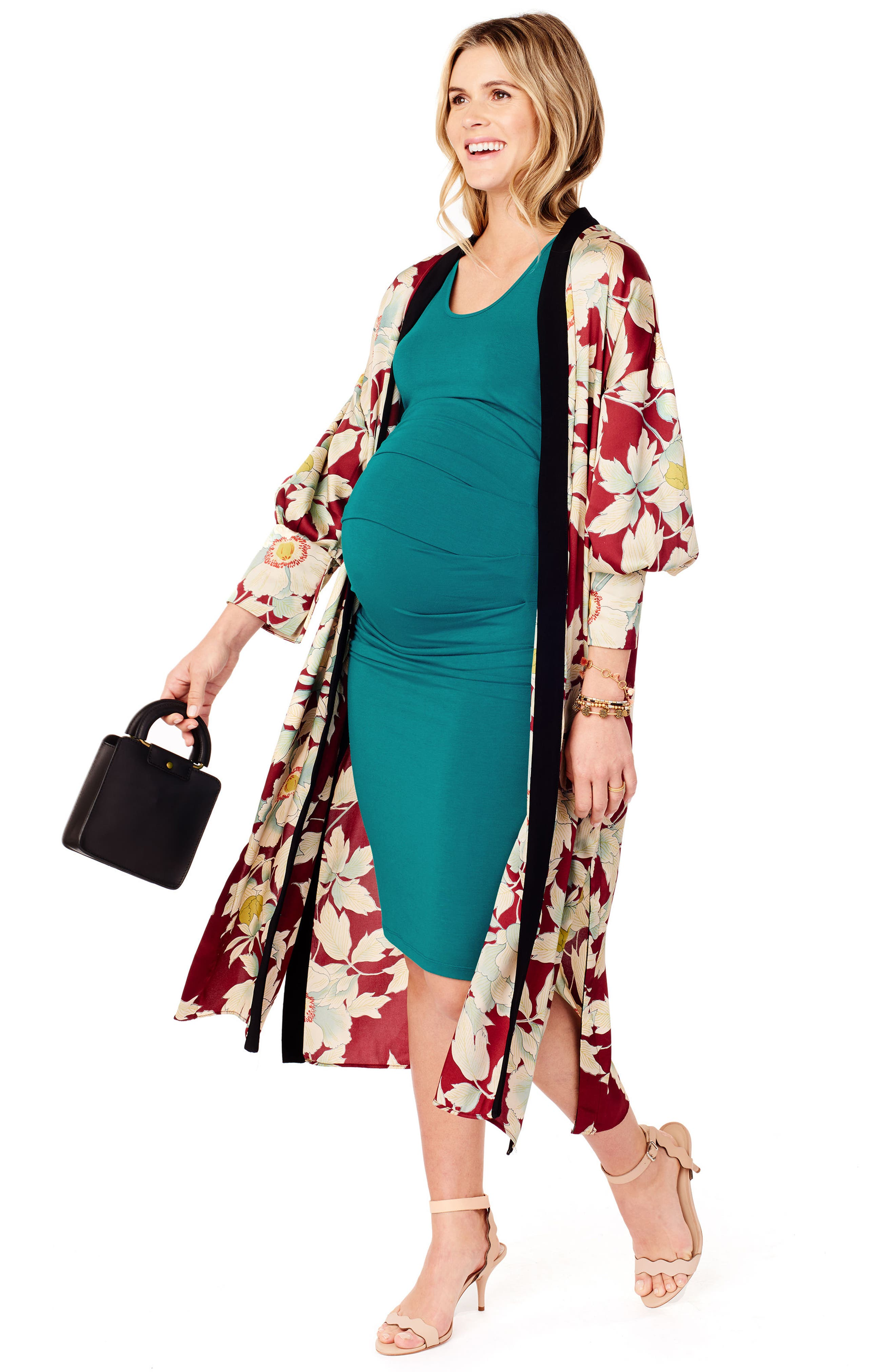 ,                             Ruched Maternity Tank Dress,                             Alternate thumbnail 4, color,                             TEAL