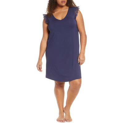 Plus Size Nordstrom Moonlight Lace Trim Nightgown, Blue