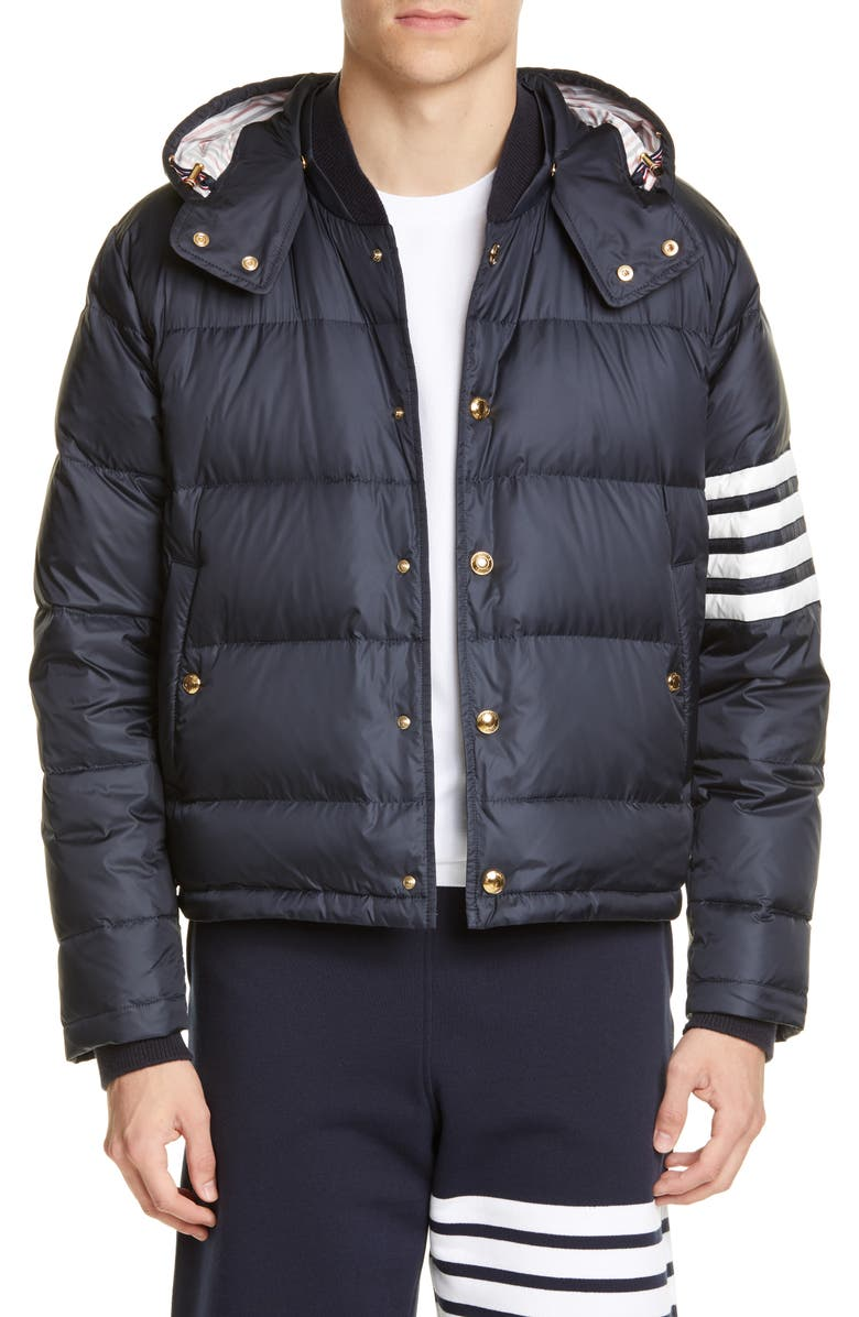 THOM BROWNE Quilted Down Bomber Jacket, Main, color, NAVY