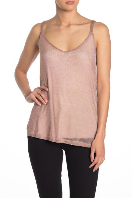 Image of Tart Metallic Knit Asymmetrical Hem Tank Top