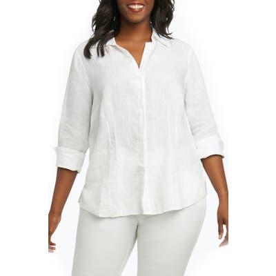 Plus Size Foxcroft Taylor Three Quarter Sleeve Linen Shirt, White