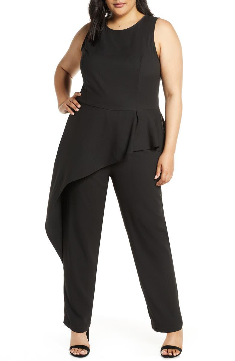 ELOQUII Studio Asymmetrical Peplum Jumpsuit, Main, color, BLACK