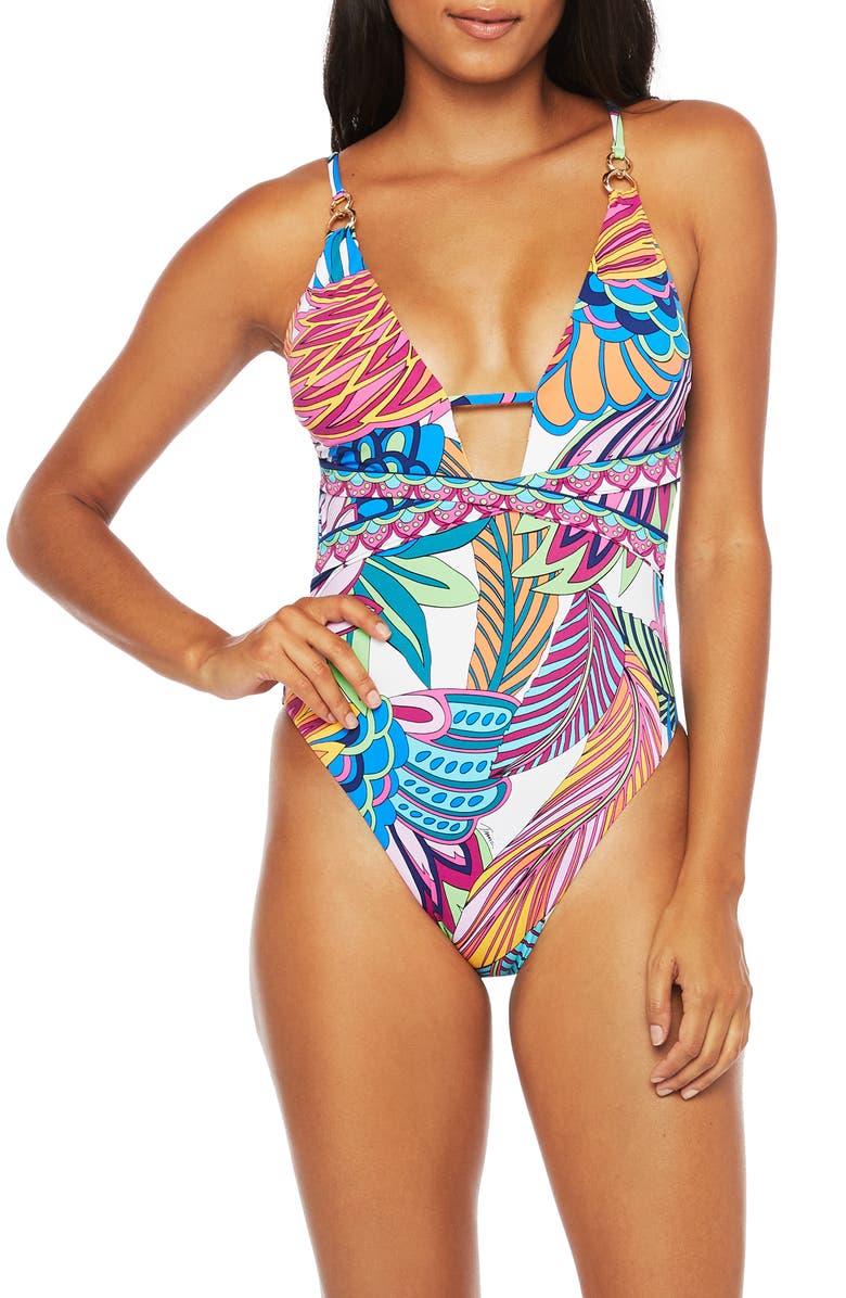 TRINA TURK Paradise One-Piece Swimsuit, Main, color, BLUE MULTI
