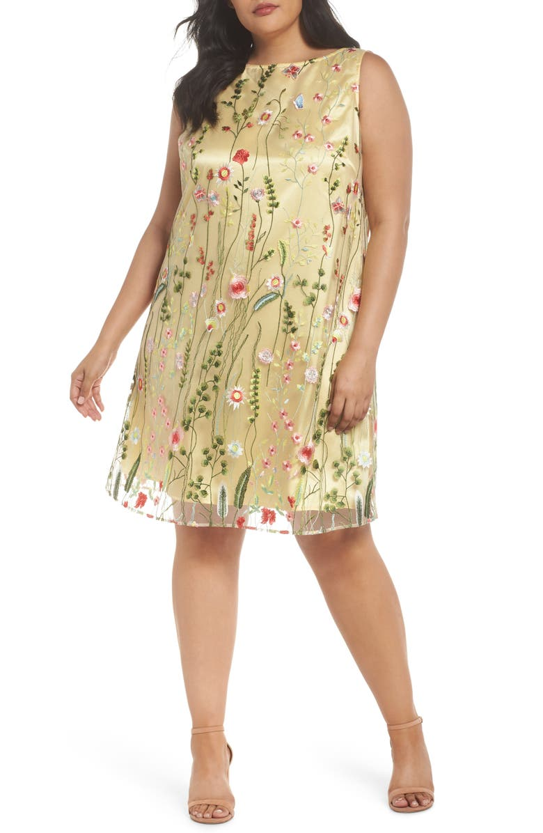 TAHARI Floral Embroidered Shift Dress, Main, color, 798