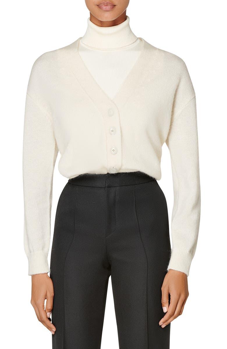 SUISTUDIO Wool & Alpaca Blend Cardigan Sweater, Main, color, OFF WHITE
