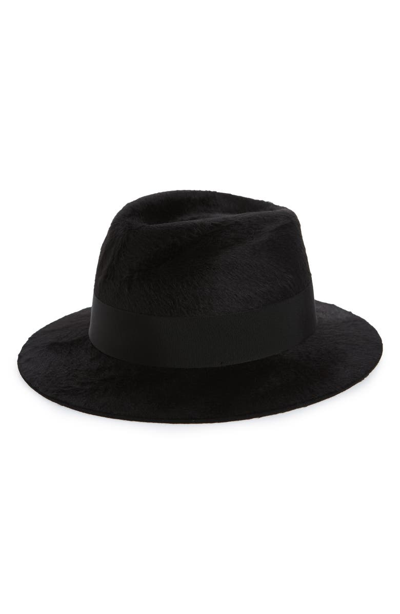 SAINT LAURENT Fur Felt Fedora, Main, color, NOIR/ NOIR