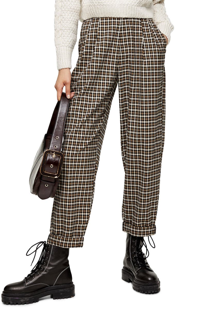 TOPSHOP Check Tapered Trousers, Main, color, BLACK MULTI