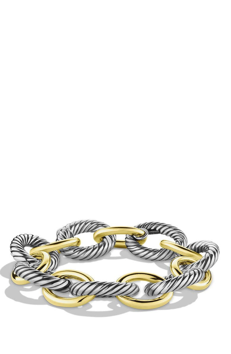 DAVID YURMAN 'Oval' Extra-Large Link Bracelet with Gold, Main, color, TWO TONE