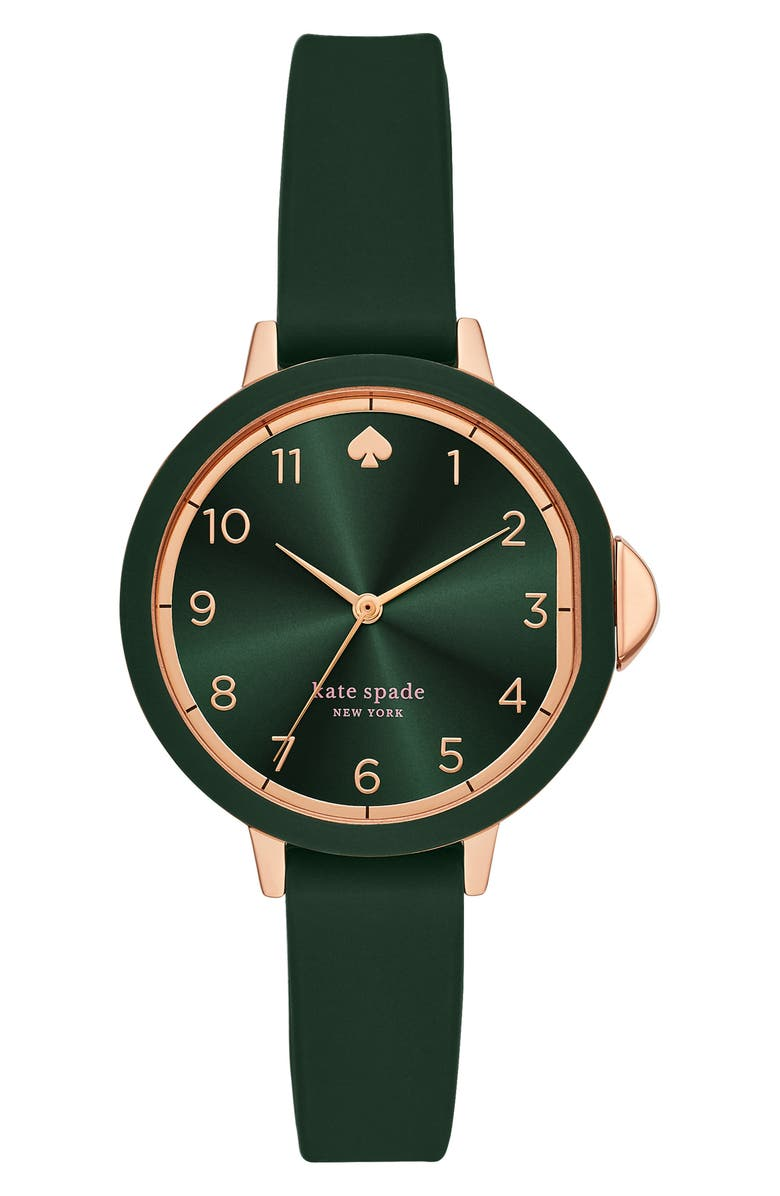 KATE SPADE NEW YORK park row silicone strap watch, 34mm, Main, color, GREEN/ ROSE GOLD